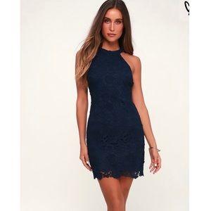 Lulus Love Poem Navy Blue Lace Dress